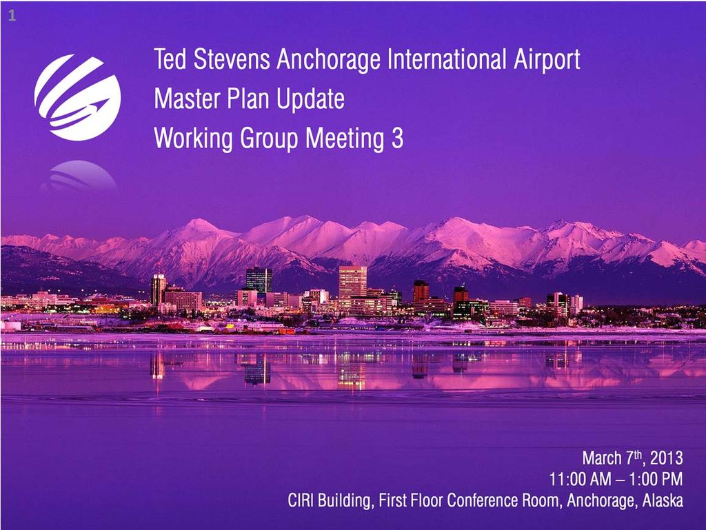 This is the presentation for the third Master Plan Update Working Group Meeting being conducted for the Ted Stevens Anchorage International Airport Master Plan Update.