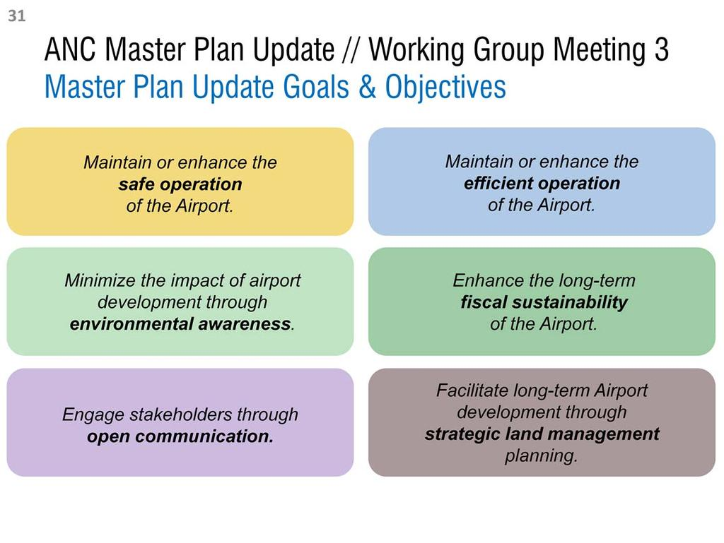 The Master Plan Update goals and objectives cover six broad topic areas. The Master Plan Update goals and objectives are foundational to the alternatives development process.
