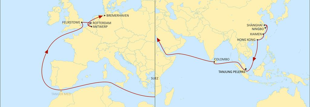 ASIA NORTH EUROPE SHOGUN WESTBOUND Direct offer from Xiamen and Hong Kong Best product from South China and South East Asia to Felixstowe.