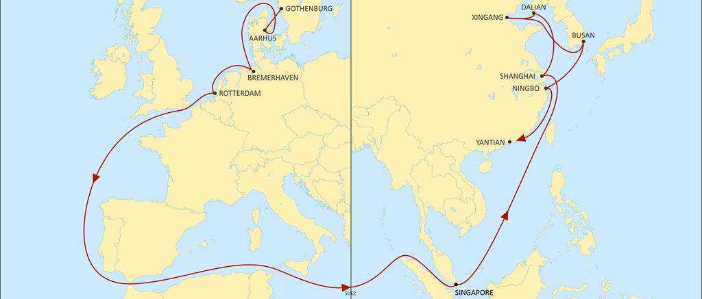ASIA NORTH EUROPE ALBATROSS EASTBOUND Direct service from Denmark and Sweden into Asia with a direct call to SHA with 34 days from Aahrus and 35 days from Gothenburg SEA destinations will be covered