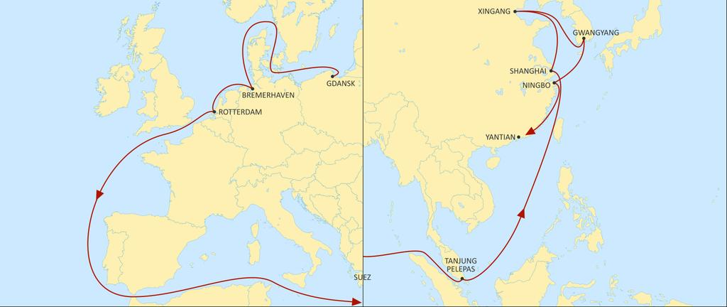 ASIA NORTH EUROPE SILK EASTBOUND Direct call from Gdansk to Asia with connections for all SEA thru TPP HUB Faster connection from NEU HUB (BRV/ RTM) to Japan via Ningbo RTM to Ningbo >36 days BRV to