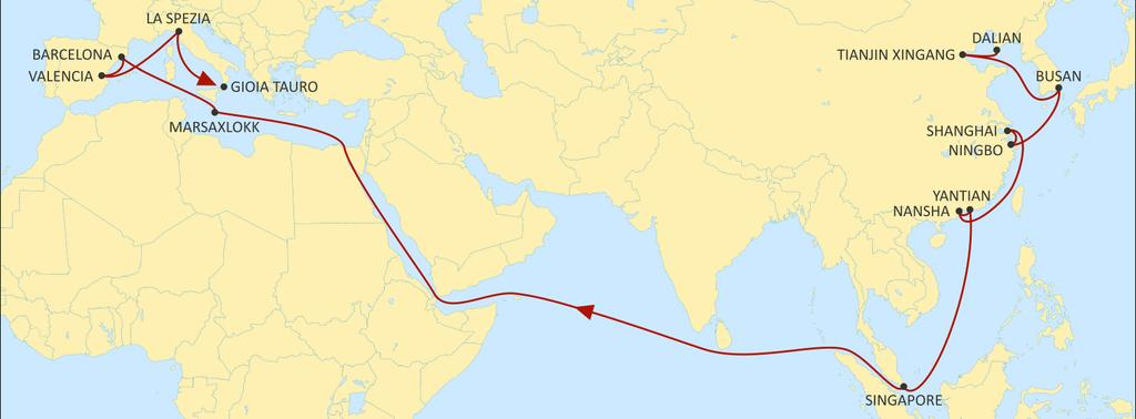 ASIA MEDITERRANEAN JADE WESTBOUND Extensive port coverage in Asia including new direct calls to Dalian & Xingang. Best transit times to Spain with widespread port coverage.
