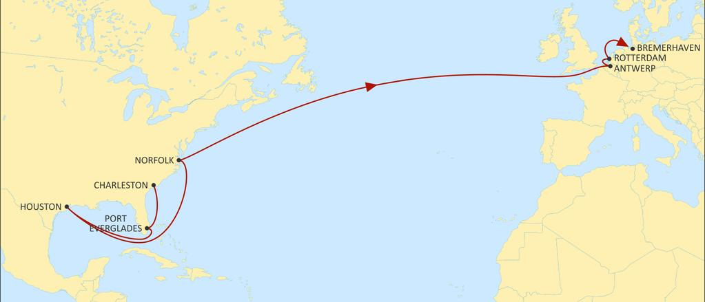 TRANSATLANTIC NORTH EUROPE NEUATL1 EASTBOUND Market-leading transit times from Houston and Norfolk Direct call from Port Everglades.