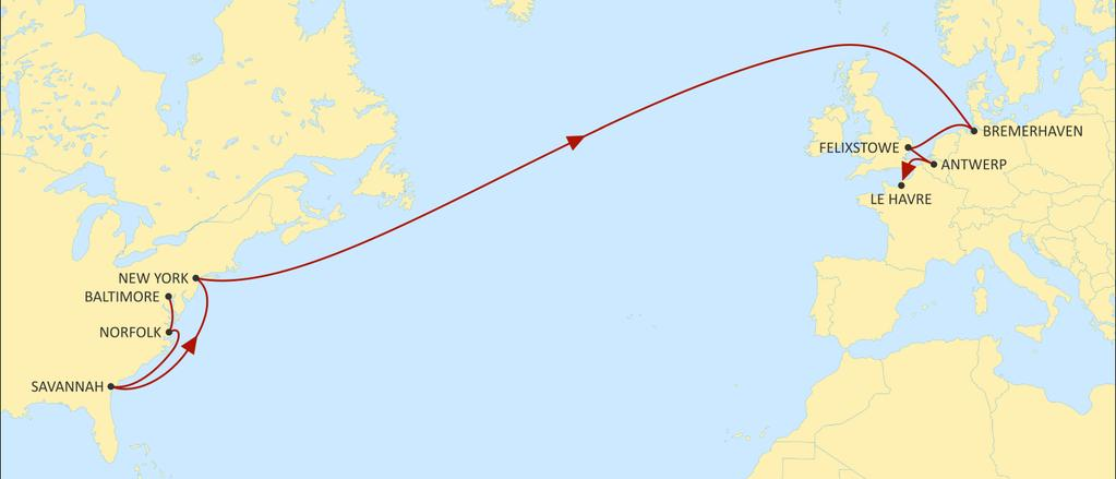 TRANSATLANTIC NORTH EUROPE NEUATL2 EASTBOUND New call from Wilmington Additional Eastbound call from Savannah Market leading transit times ex USA East Coast 2M network supplemented with additional