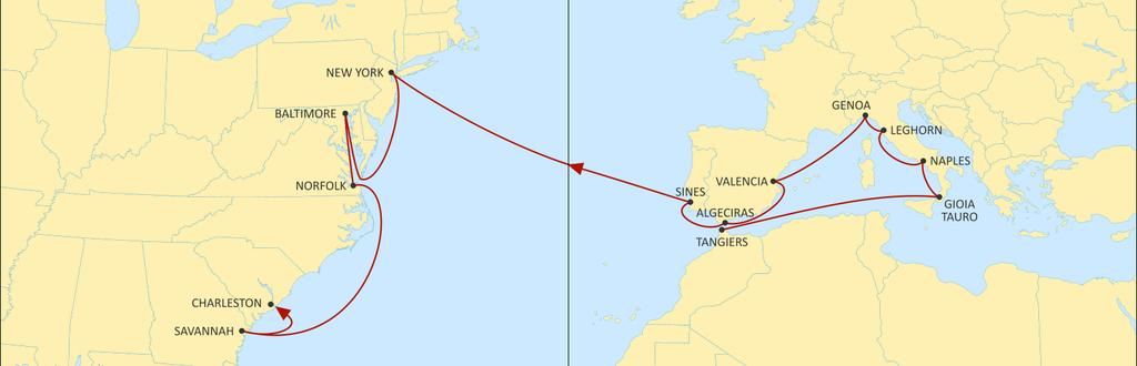 TRANSATLANTIC MEDITERRANEAN MEDUSEC WESTBOUND WESTBOUND Improved transit times to all USA ports from Italy Fastest service on the market from Spain and Portugal Now calling at Tangiers NEW YORK