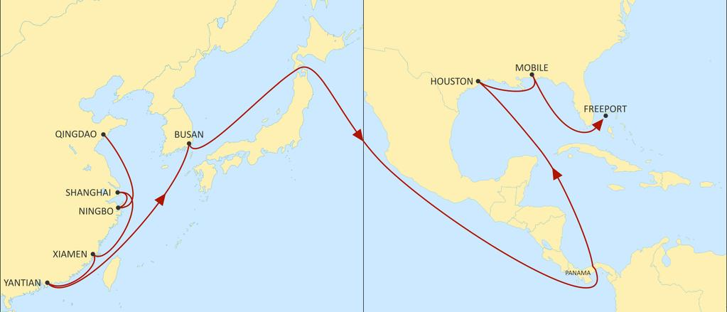 ASIA TO USA EAST COAST LONE STAR EXPRESS EASTBOUND An express direct US Gulf service through Panama, linking North, Central, South China and South Korea with Houston and Mobile, allowing for