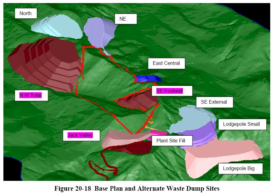 Figure 15. The proposed base plan and alternate waste dumps for the Lodgepole Coal Mine. From: Cline Mining Corp.