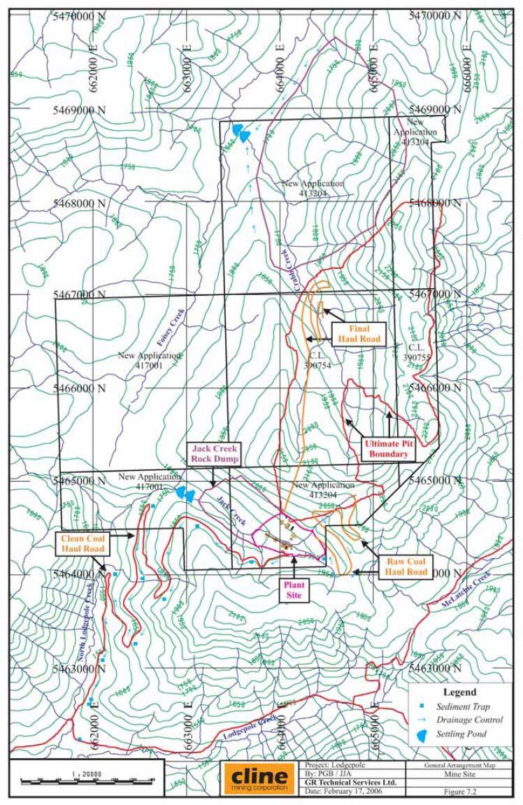 Figure 18. The proposed Lodgepole mine site, facilities and access roads. From: Cline Mining Corp.