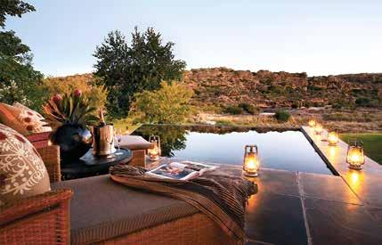 A private plunge pool at Bushmans Kloof Wilderness Reserve & Wellness Center, Cederberg Mountains, SOUTH AFRICA Arranging your newspaper of preference ANTICIPATING YOUR