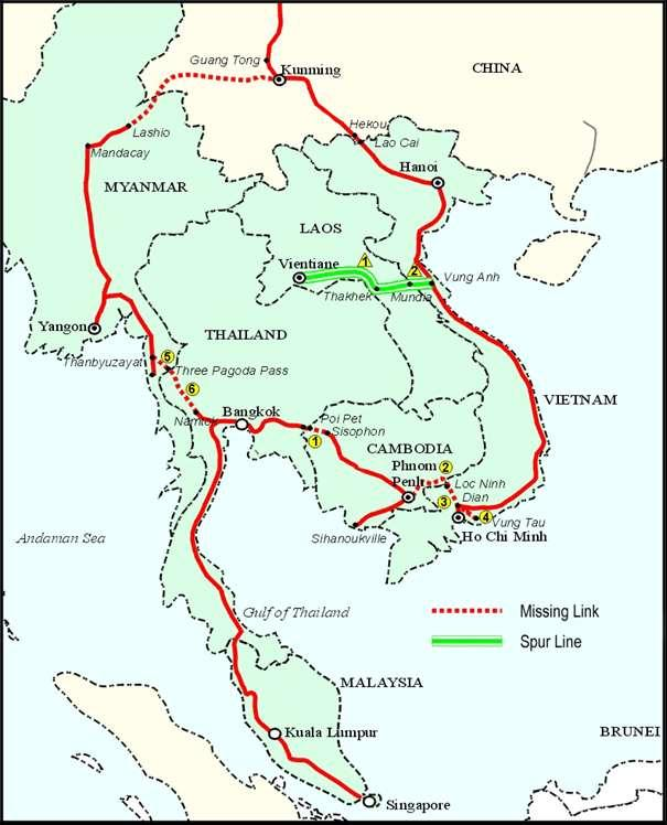 Current network : Cambodia Lao PDR (Spur Line) Malaysia Myanmar Singapore Thailand Viet Nam Kunming,
