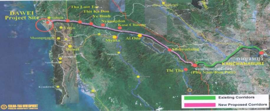 Country Section Status Myanmar - Thailand Kanchanaburi Ban Phu Nam Ron - Dawei Port [322 km] - Feasibility Study completed April 2015 - Estimate cost : USD 4.