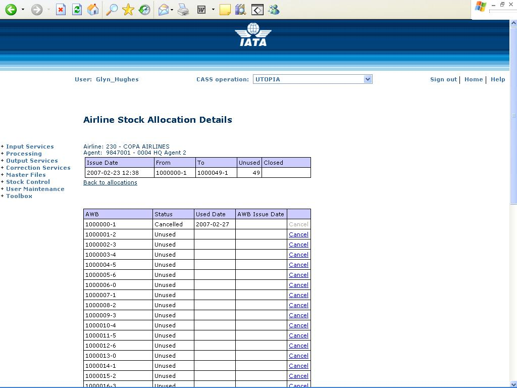 5.3 Airline Stock Allocation Details This screen is available to airlines and shows individual allocation details.