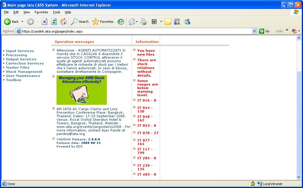 2.2 Airline Stock Operational Messages Stock Messages will appear on the home page under the Information column.