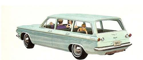 The 1961 Chevrolet Corvair Lakewood 700 The only wagon with plenty of cargo space plus a key locking front trunk!