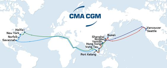 New 2015 ASIA - NORTH AMERICA Services PRX YANGTZE BOHAI FUJI COLUMBUS PNW COLUMBUS SUEZ PEX3 COLUMBUS SUEZ Westbound Fast service from US East Coast to South East Asia Optimum reefer service from