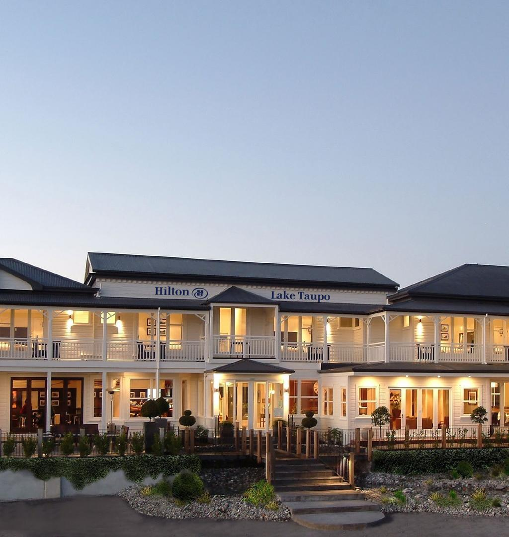 WELCOME TO HILTON LAKE TAUPO Nestled in one of the world s most stunning natural regions, Hilton Lake Taupo is conveniently close to the bustling town centre, the famous hot springs and mighty Huka
