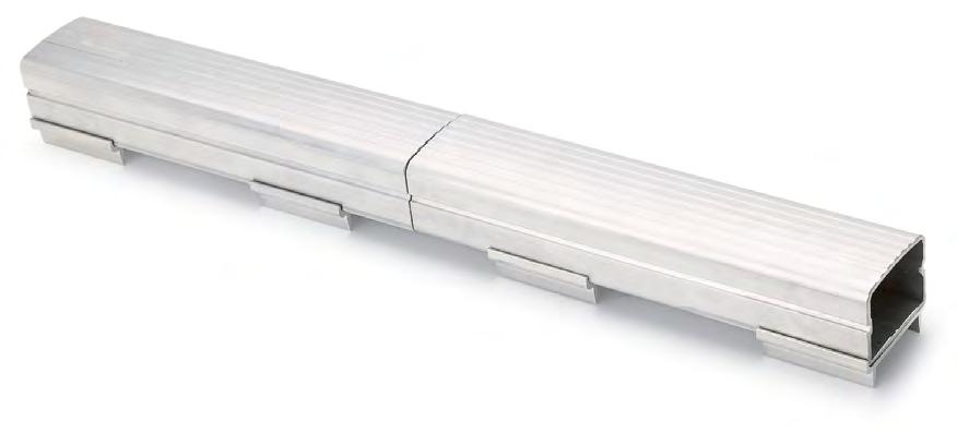 32 33 33 E39917 851A in-field Track Installations International Track Curbing Heavy gauge aluminum design features fluted dome-shaped top Curbing sections