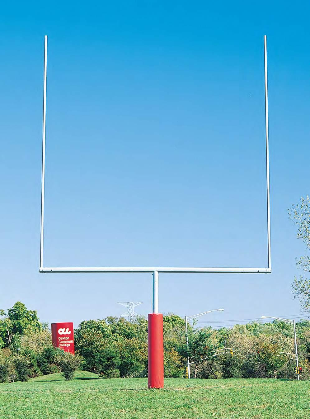 36 37 37 Plate Mount Goal Posts Steel football Goal Posts The 6 gooseneck goals are all steel and constructed of 5 9 16 diameter gooseneck, 5 diameter crossbar and 2 1 2 diameter uprights.