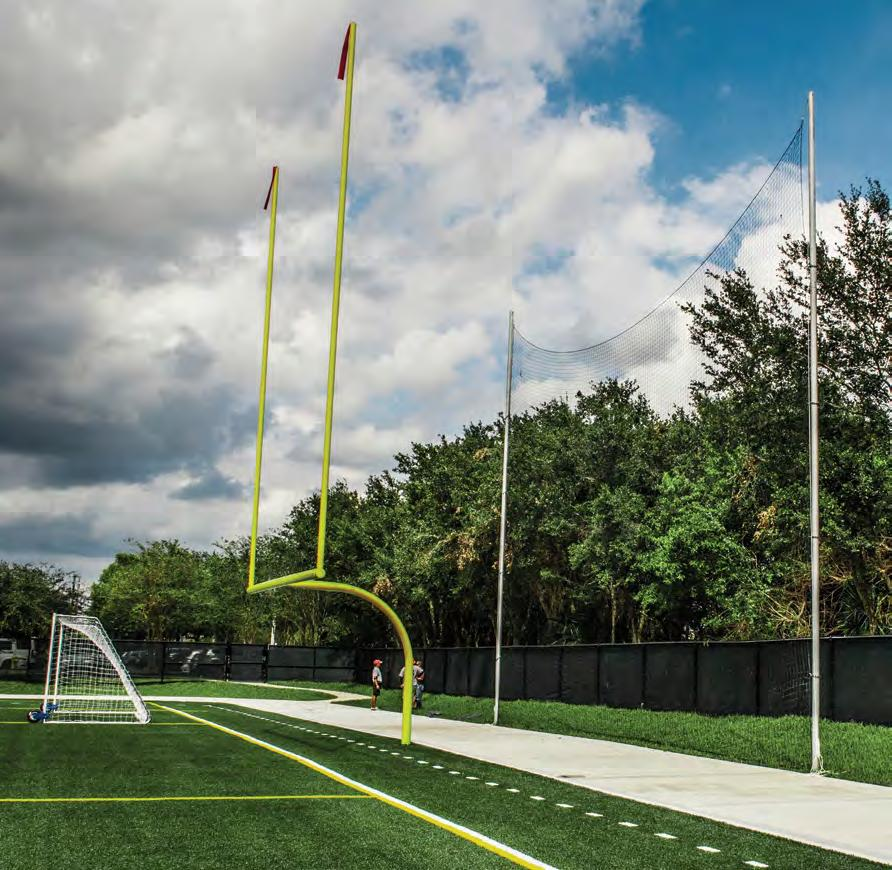 The football uprights are constructed of 2 square steel tube and extend 10 above the crossbar. Durable white powder coat finish. Soccer nets and backstays sold separately.