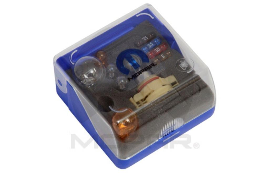 Bulb Kit Compact kit for easy storage in glove compartment contains major bulbs for exterior lighting and fuses.