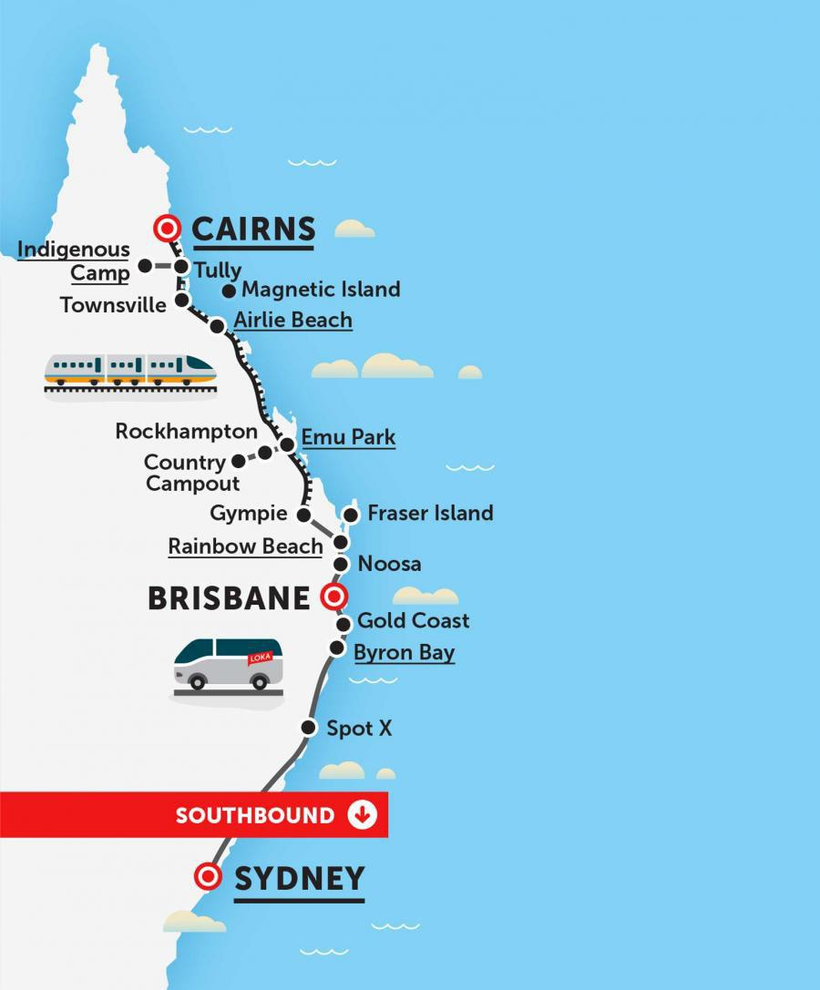 14 Day Cairns to Sydney Tour Package with Loka and Real Aussie Adventures Please note: all the MEET times listed below are departure times, please be waiting at the designated location 10 minutes