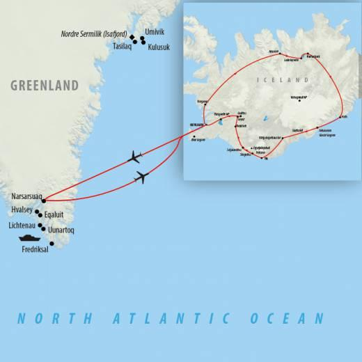 Continue by flight to south Greenland for a week cruising some of Greenland's most beautiful sights with a chance to reach the famous Greenlandic Ice Cap.