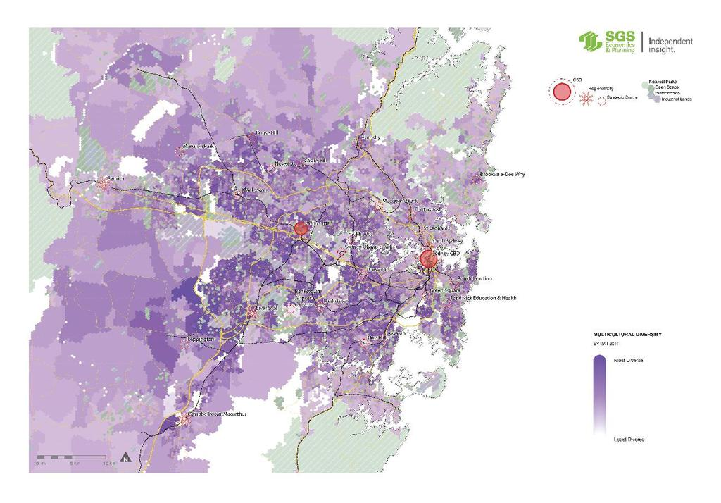 The diversity of Sydney is illustrated in Figure 26. Sydney is a multicultural city, particularly the south west of Sydney.