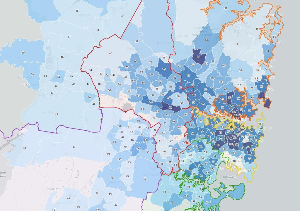 The results of the Urban Living Index are detailed in Figure 36. The GPOP corridor performs well, particularly compared to elsewhere in western Sydney.