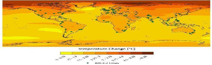 Urban Climate Science Climate Projections for ARC3.2 Cities 2050s 35 GCMs RCP4.5 Temperatures are already rising in cities around the world due to both climate change and the urban heat island effect.