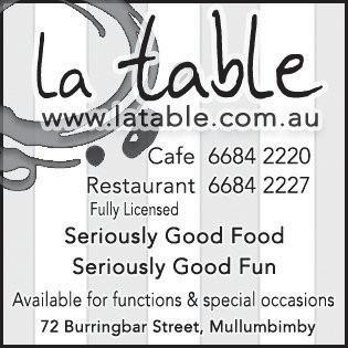 MULLUM TWEED COAST DELICIS NUTRITIS Victoria Cosford RESTAURANT + LGE R 02 66 5555 Poolside at Santai resort 9 Dianella Drive, Casuarina 1 YEAR CELEBRATION 5 courseal + French wines Fri 13 + Sat 14.