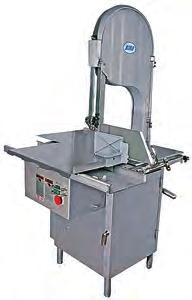 (B) Model KSP-116 High Speed Meat Band Saw (Cat#: BSBASAKSP116) - Stainless steel construction. Belt driven. Sliding table. Hose down washable. Specifications - Horsepower: 1.