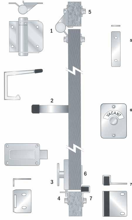 Brass PARTITIONING HARDWARE SETS Hinge Handling: One thing to remember with designing/fitting out a toilet or shower partition program hinge handing is done from the internal cubicle side of the