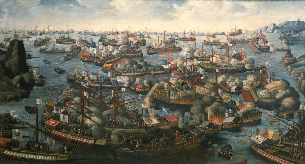 - Battle of Lepanto (1571) In this October 1571 naval battle a coalition of Catholic states led by Spain defeated the main fleet of the Ottoman Empire off of the coast