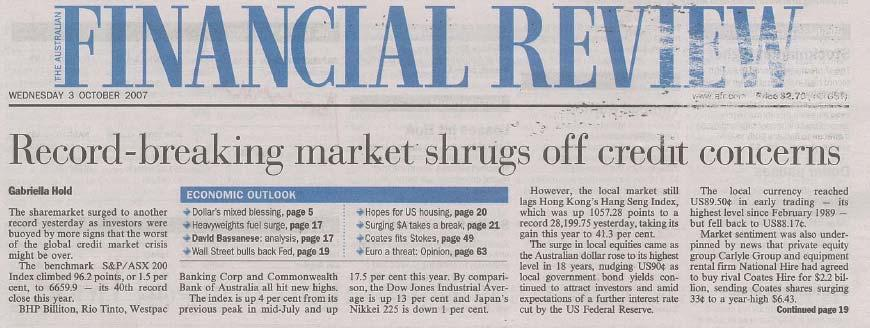 Source: Australian Financial Review 18 August 2007