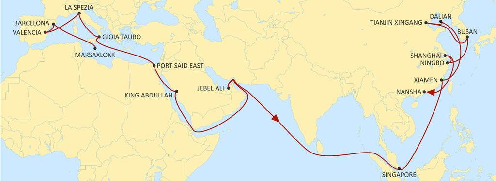 ASIA MEDITERRANEAN JADE EASTBOUND Fast West Mediterranean service to Red Sea, Middle East and Asia. Excellent reefer service to Middle East.