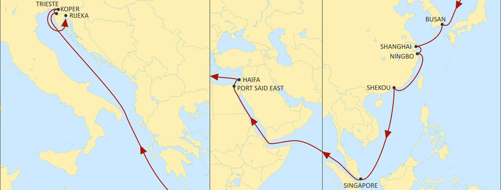 ASIA MEDITERRANEAN PHOENIX WESTBOUND Excellent transit times to Haifa from Far East. Reliable direct service from Korea and China to Koper, Trieste and Rijeka.