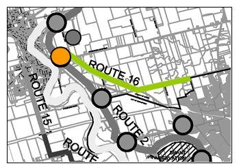 Route 16: Paris to Brantford Route Route 16 connects Paris with the City of Brantford. This proposed route travels along Paris Road from Dundas St.