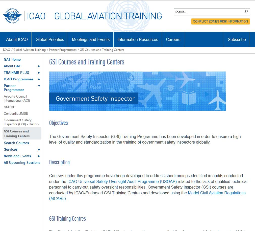 Government Safety Inspector (GSI) GSI Courses Available Government Safety Inspector Operations-Air Operator Certification (GSI-OPS), Course 18700 Government Safety Inspector Airworthiness-Air