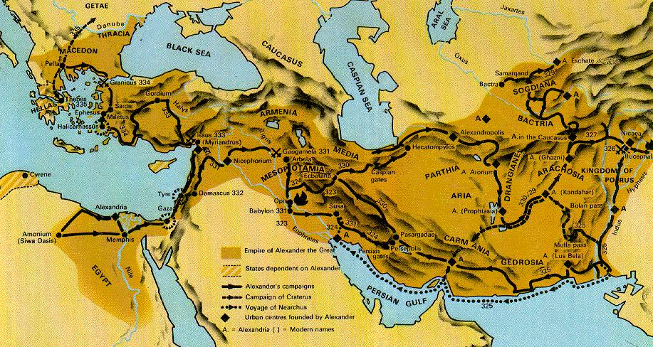 Alexander conquered the Persian empire and