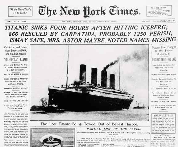 The Passengers As the newspaper shows, many well-known people were on the Titanic s first voyage. For them, it was a vacation.