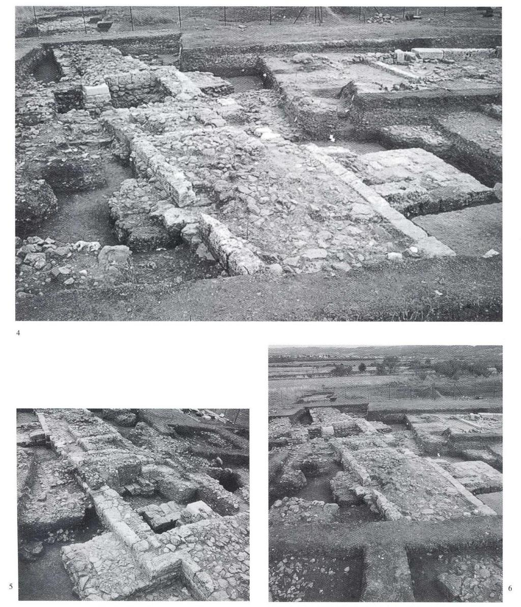 4. The city wall of Aigai in the area of the burial cluster of the Queens (cluster B) seen from the west. The city, the inner tower and the remains of the interior space can be seen. 5.