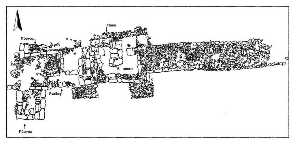 Fig. 3 Aigai. Plan view of the wall and the city The width of the wall is 10 feet (3 m).