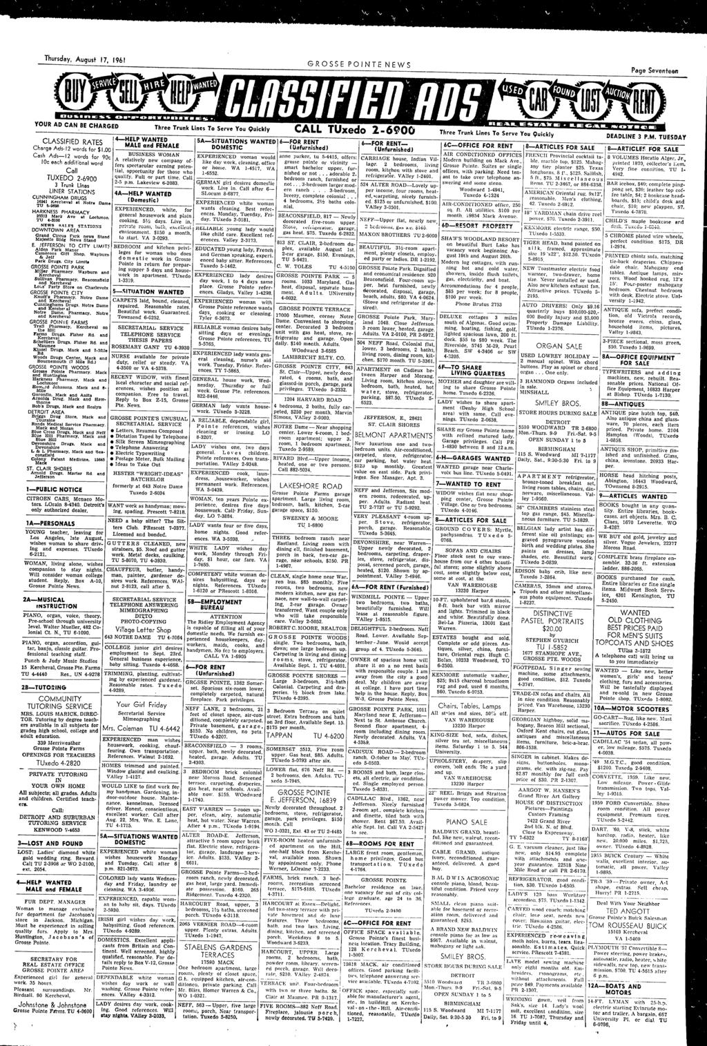 Thursday August 17 1961 GROSSE PONTE NEWS Page Seventeen YOUR AD CAN BE CHARGED CLASSFED RATES Charge Ads.12 words for $1.