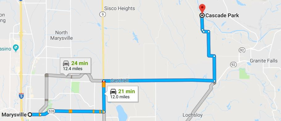 DIRECTIONS TO CAMP: Cascade Park 12629 155 th Ave. NE Arlington, WA 98223 360-691-5656 cascadeparkcamp@ldsmail.net From the Marysville: Go East 64 th St NE (SR528) towards HWY 9.