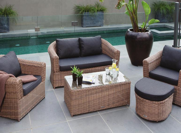 75cm with 10cm thick seat and back cushions Eight toscana K.D.