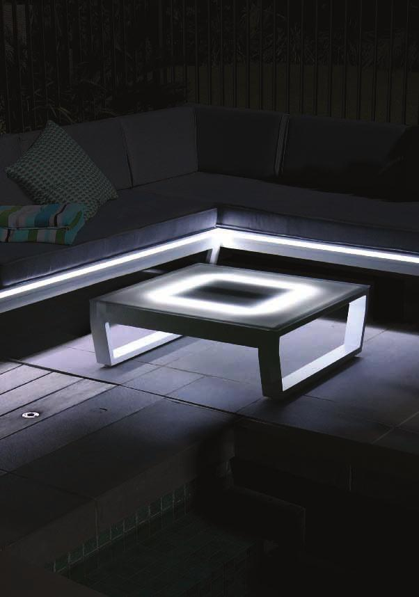 VENUS LOUNGE HX712003000L Solar powered LED lights on coffee table and sofa One double sofa 168 x 78 x 67cm with XXcm seat