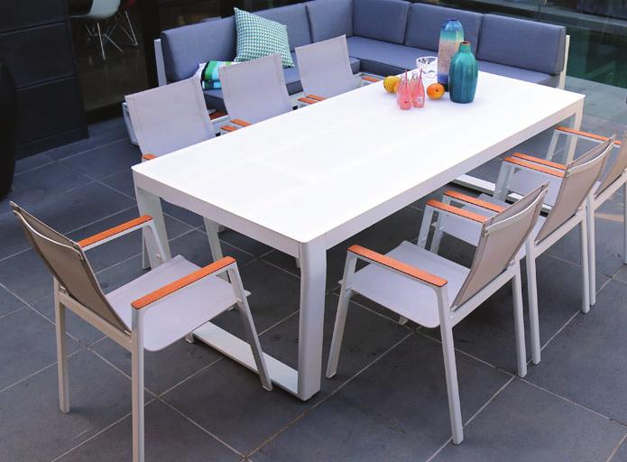 with 5mm white tempered glass top Rust free aluminium frame with Non-wood back and side board Seats four adults comfortably