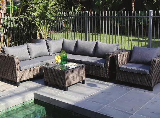 HERBERG 4 PIECE LOUNGE BERGA LOUNGE DINING HX710041000L HX720036005L Hand woven rattan - perfect for outdoor use year round Aluminium powder coated frame - lightweight and sturdy Two