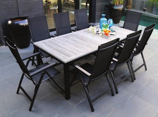 with 5mm Glass Top Six grey 10cm seat cushions - machine washable Seven grey 24cm back cushions - machine washable Chair/Rattan Colour: Mocha Powder-coated aluminium frame with sling