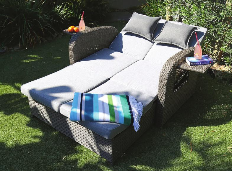 Woven base and sides Fold-up stand is ideal for drinks In-built comfy cushions to support your neck and head Attractive
